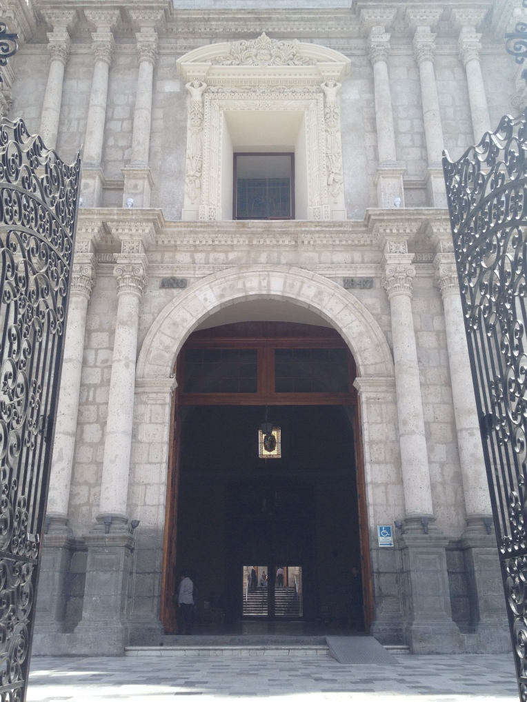 Front entrance, basilica, Arequipa // A Slice of Peru